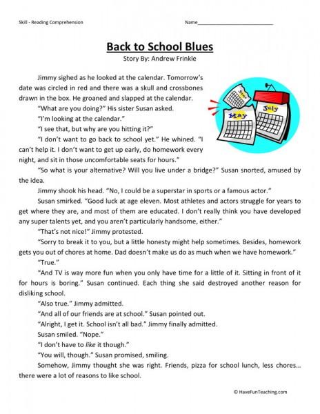 Reading Comprehension Worksheet Back To School Blues