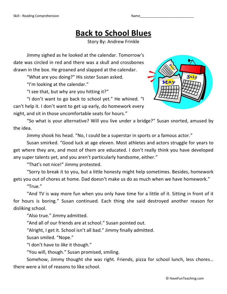 Back to School Blues - Comprehension Worksheets