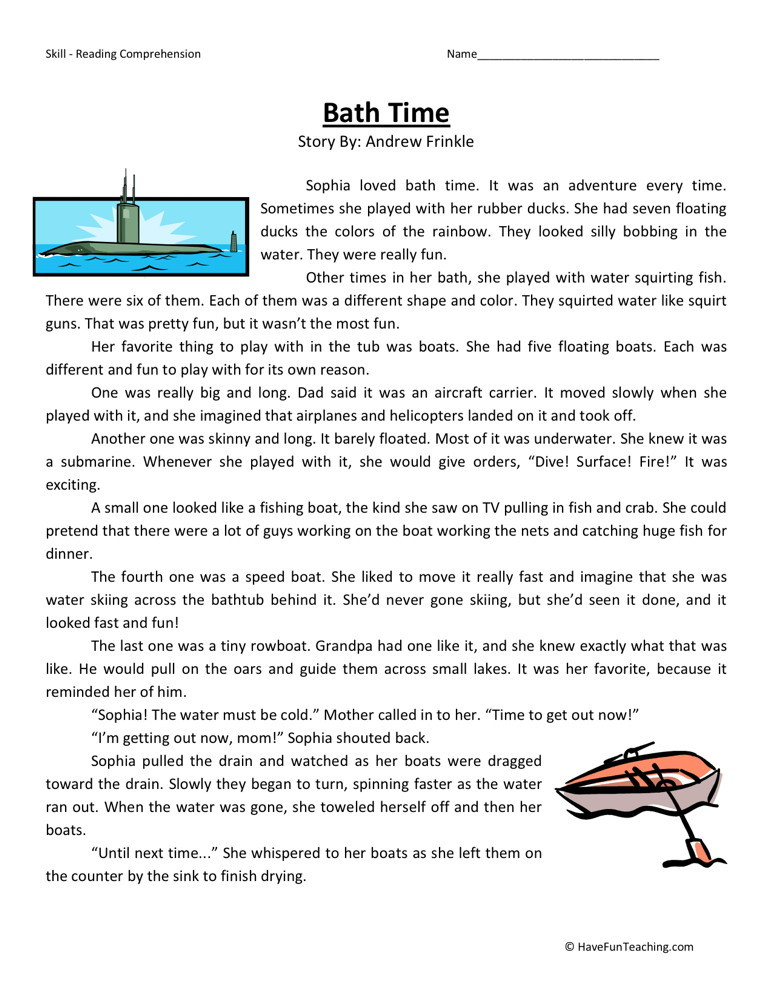 Reading Comprehension Worksheet Bath Time