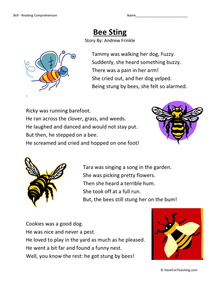 Reading Comprehension Worksheet - Bee Sting
