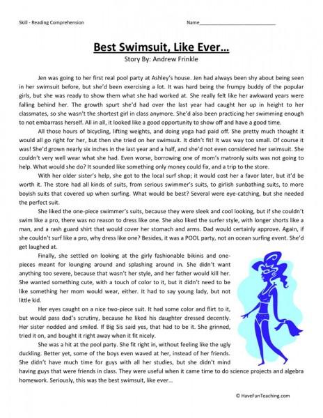 Printable English Worksheets 6th Grade : Reading comprehension worksheet best swimsuit like ever