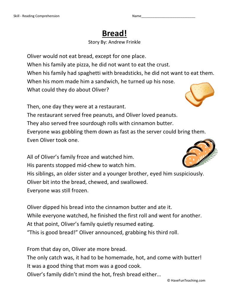 reading comprehension worksheet bread. Black Bedroom Furniture Sets. Home Design Ideas