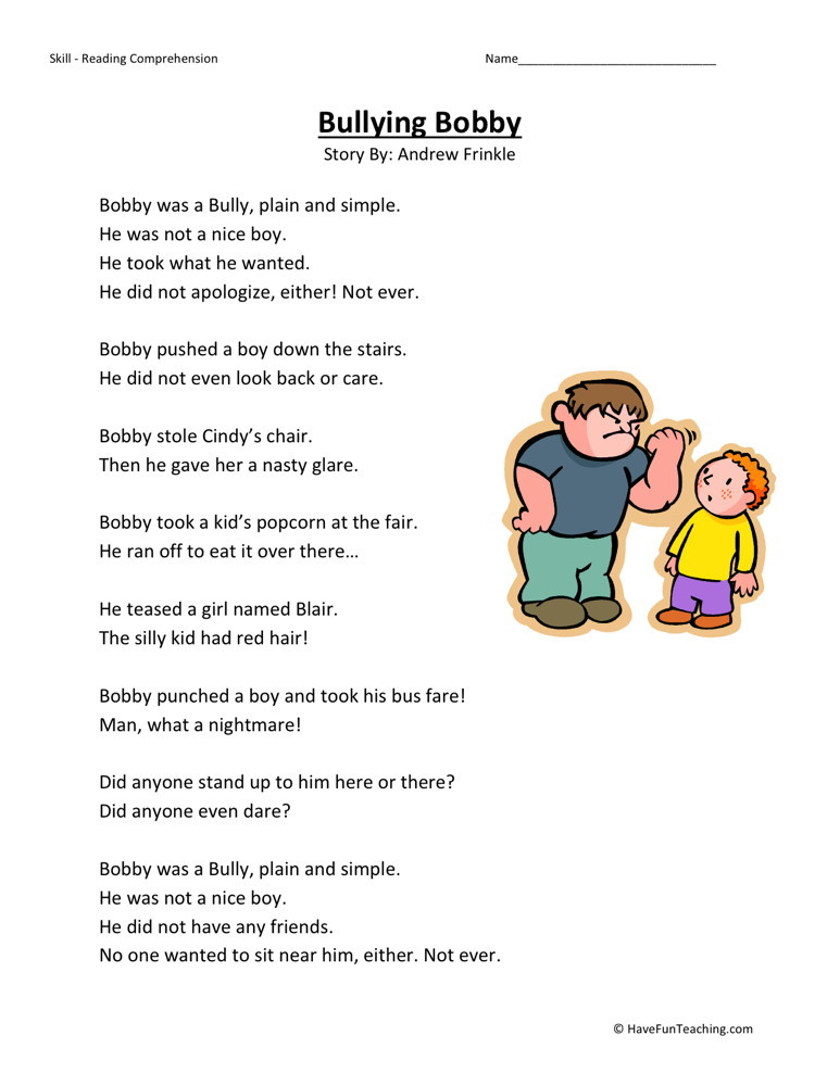 Reading Comprehension Worksheet Bullying Bobby