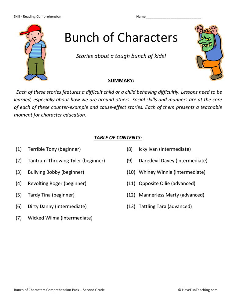 Reading Comprehension Worksheet - Bunch of Characters