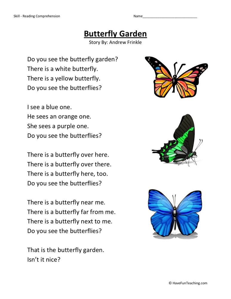 Reading Comprehension Worksheet - Butterfly Garden