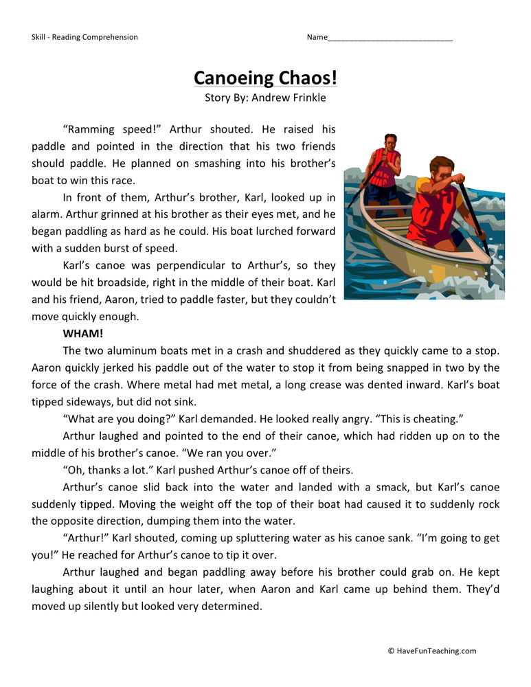 Reading Comprehension Worksheet - Canoeing Chaos!