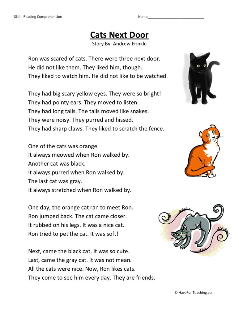 Reading Comprehension Worksheet - Cats Next Door