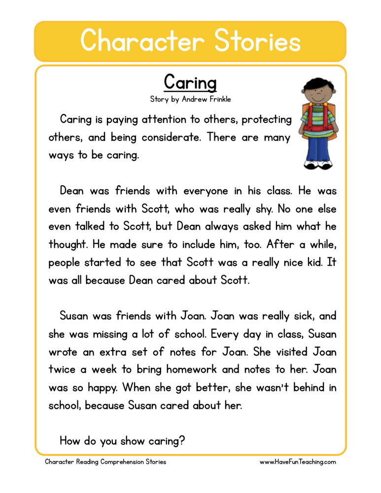 Reading Comprehension Worksheet - Caring