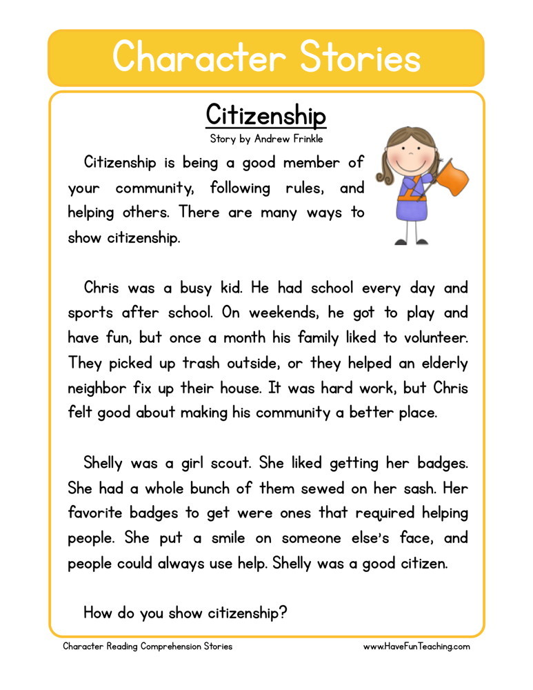 Reading Comprehension Worksheet Citizenship