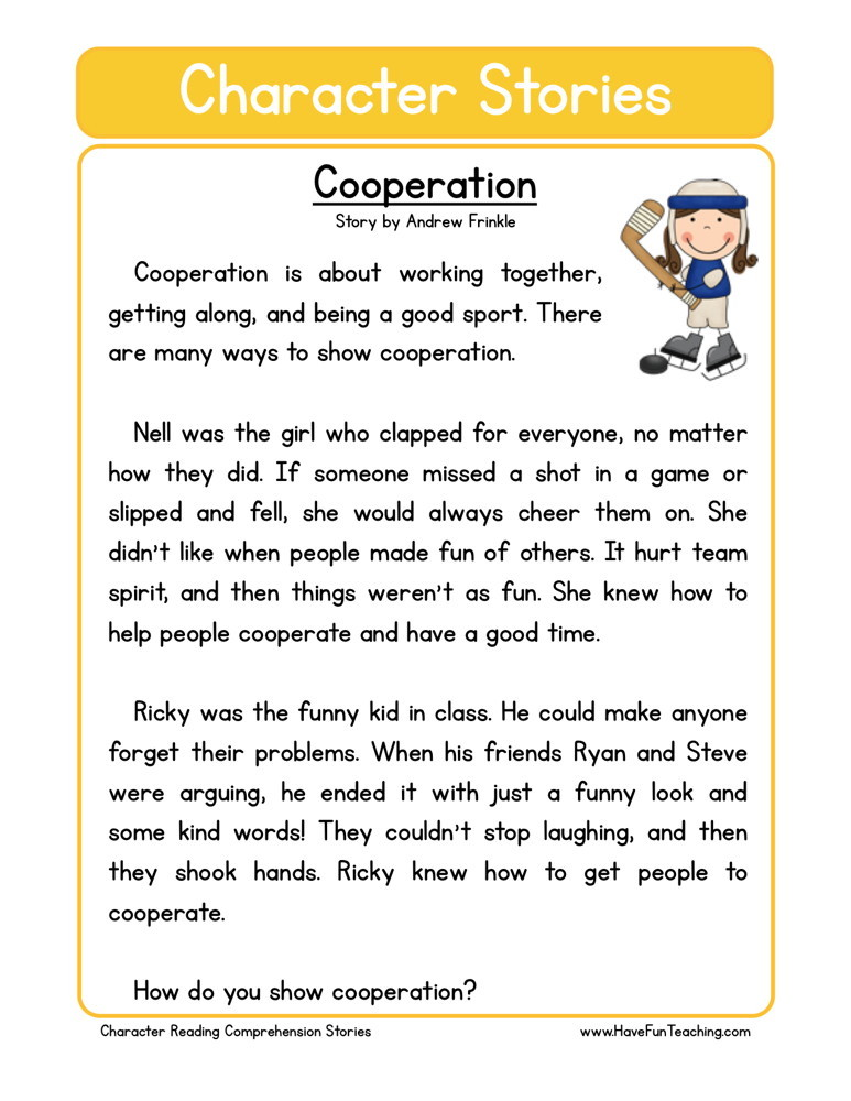 Reading Comprehension Worksheet - Cooperation