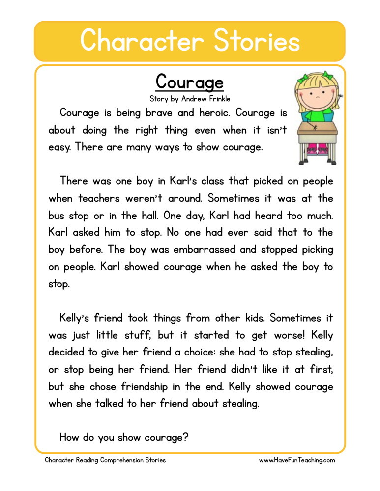 Reading Comprehension Worksheet - Courage