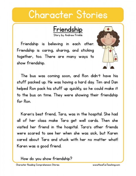 Reading Comprehension Worksheet Friendship