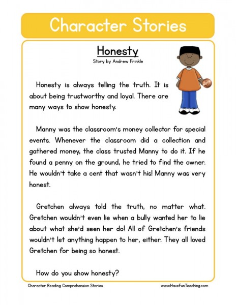 Reading Comprehension Worksheet - Honesty