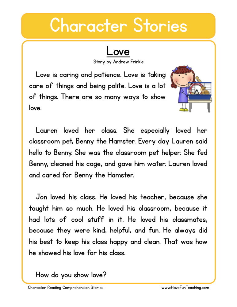 reading comprehension worksheet love. Black Bedroom Furniture Sets. Home Design Ideas