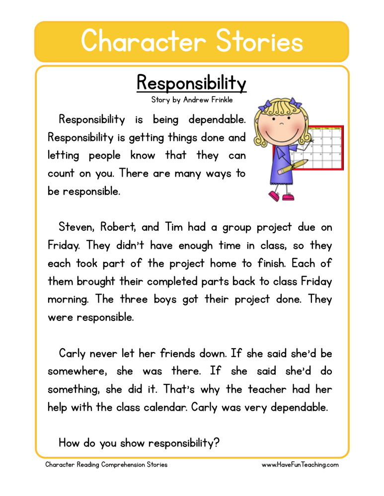 Reading Comprehension Worksheet - Responsability