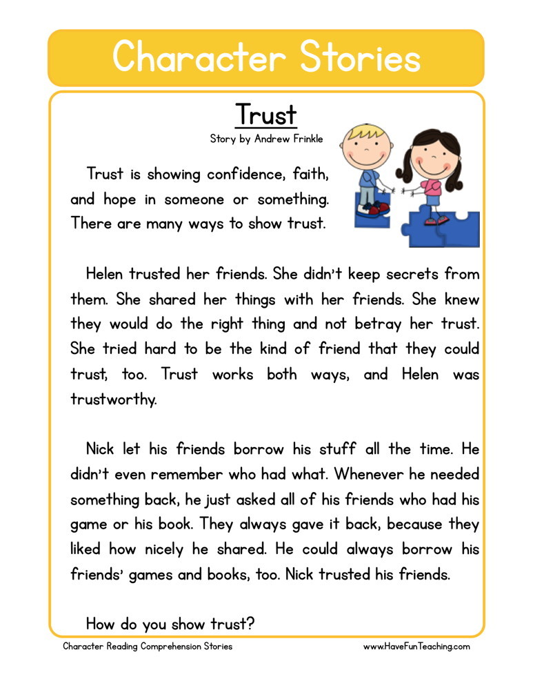 Reading Comprehension Worksheet - Trust