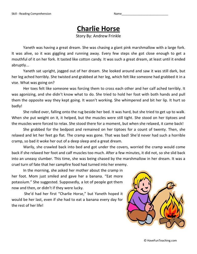 Reading Comprehension Worksheet - Charlie Horse