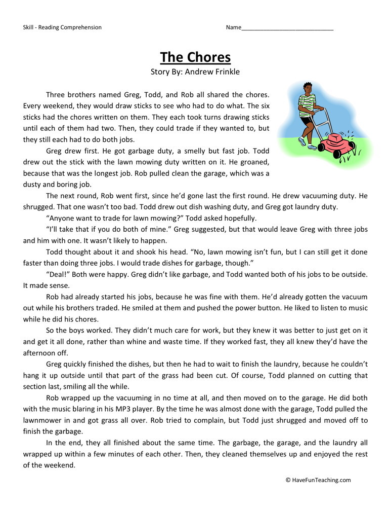 Reading Comprehension Worksheet - The Chores