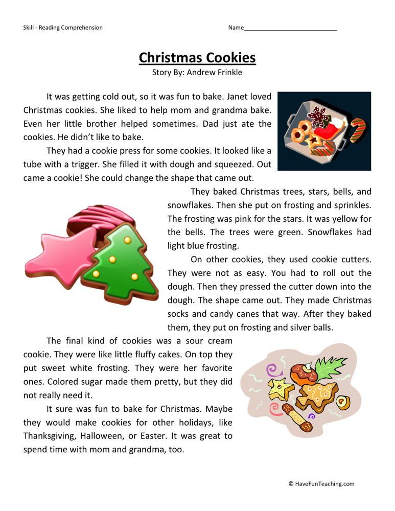 reading comprehension worksheet christmas cookies. Black Bedroom Furniture Sets. Home Design Ideas