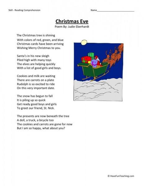 reading comprehension worksheet christmas eve. Black Bedroom Furniture Sets. Home Design Ideas