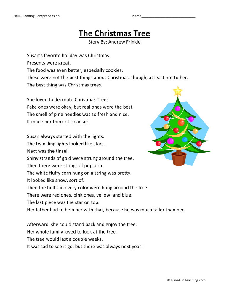 Printables Christmas Reading Comprehension Worksheets reading comprehension worksheet the christmas tree worksheets tree