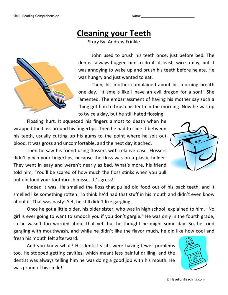 Reading Prehension Worksheet Cleaning Your Teeth