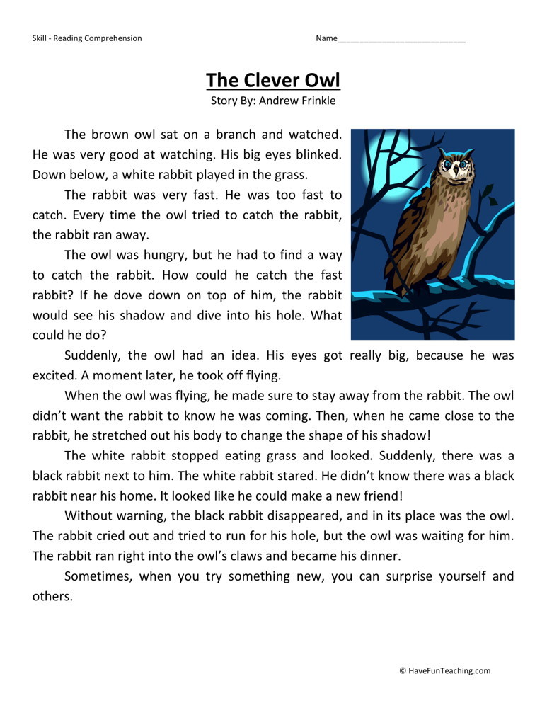 Reading Comprehension Worksheet - The Clever Owl