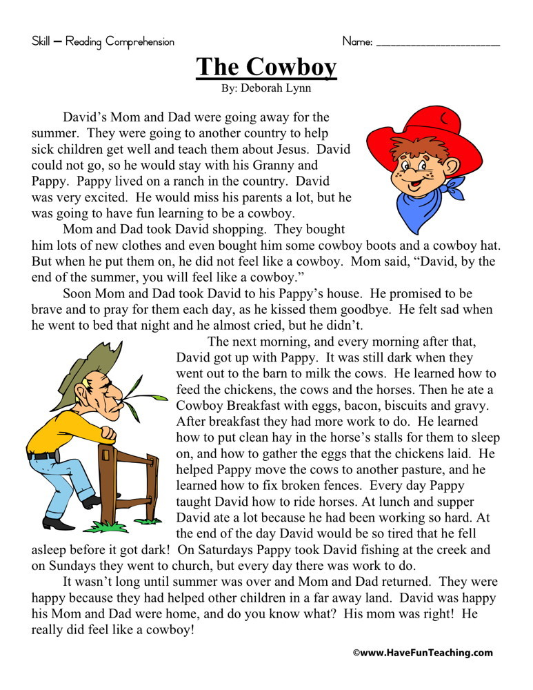 Reading Comprehension Worksheet The Cowboy