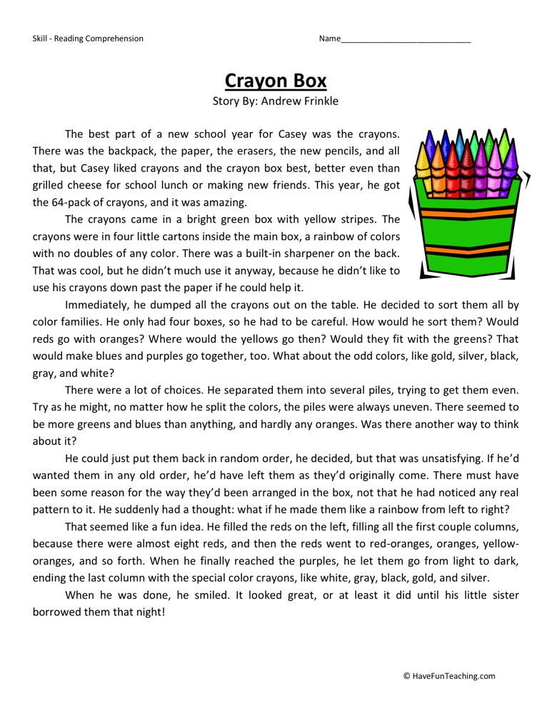 Reading Comprehension Worksheet - Crayon Box