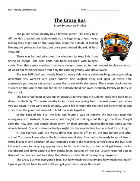 reading comprehension worksheet crazy bus. Black Bedroom Furniture Sets. Home Design Ideas