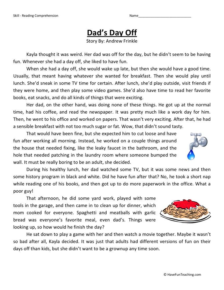 Reading Prehension Worksheet Dad S Day F