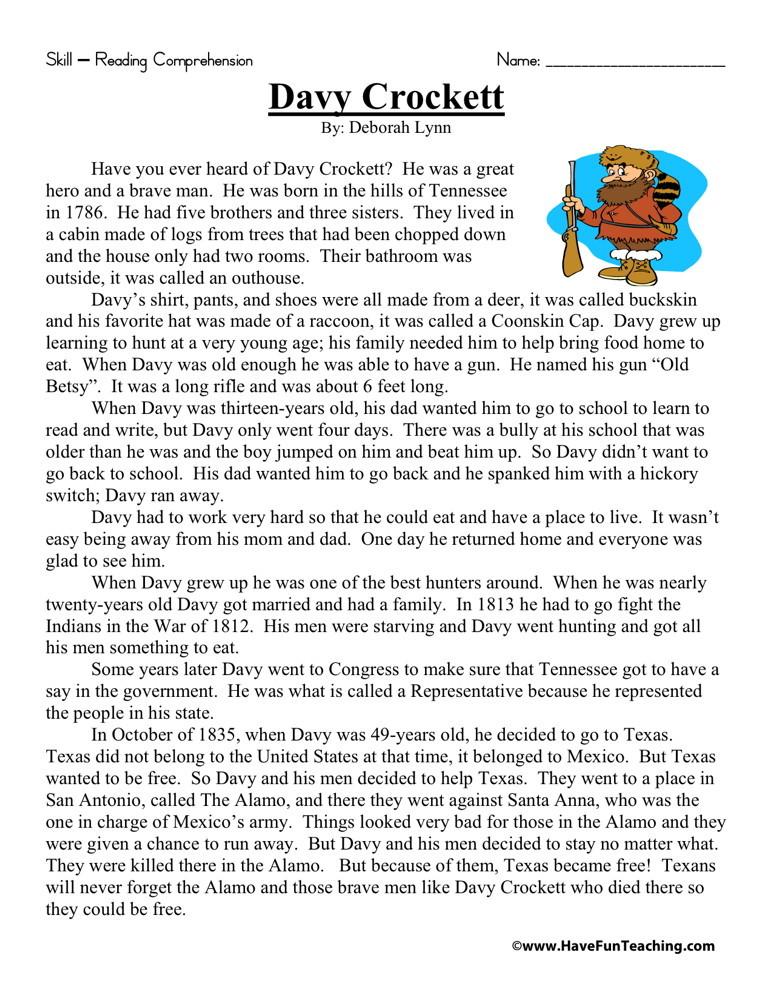 Reading Comprehension Worksheet Davy Crockett