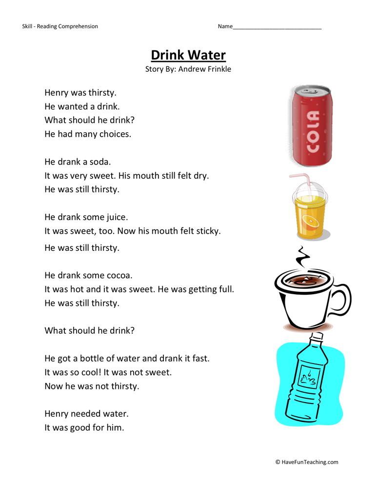Reading Comprehension Worksheet - Drink Water