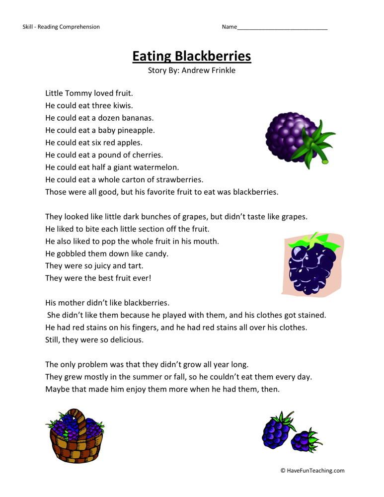 Reading Comprehension Worksheet Eating Blackberries