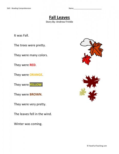 Reading Comprehension Worksheet - Fall Leaves