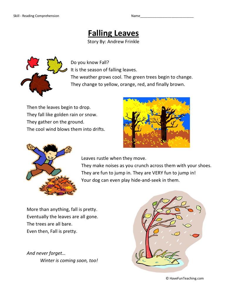 Reading Comprehension Worksheet - Falling Leaves