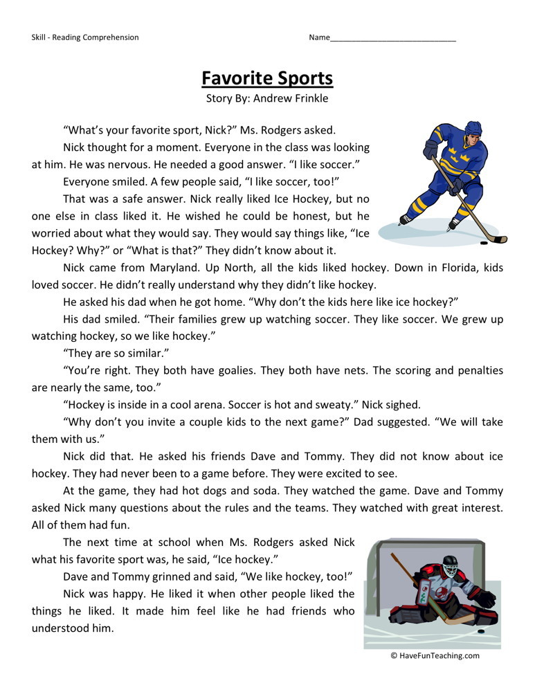 Sports Science Worksheet : Reading comprehension worksheet favorite sports