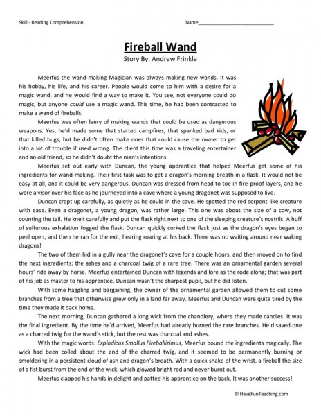 Reading Comprehension Worksheet - Fireball Wand