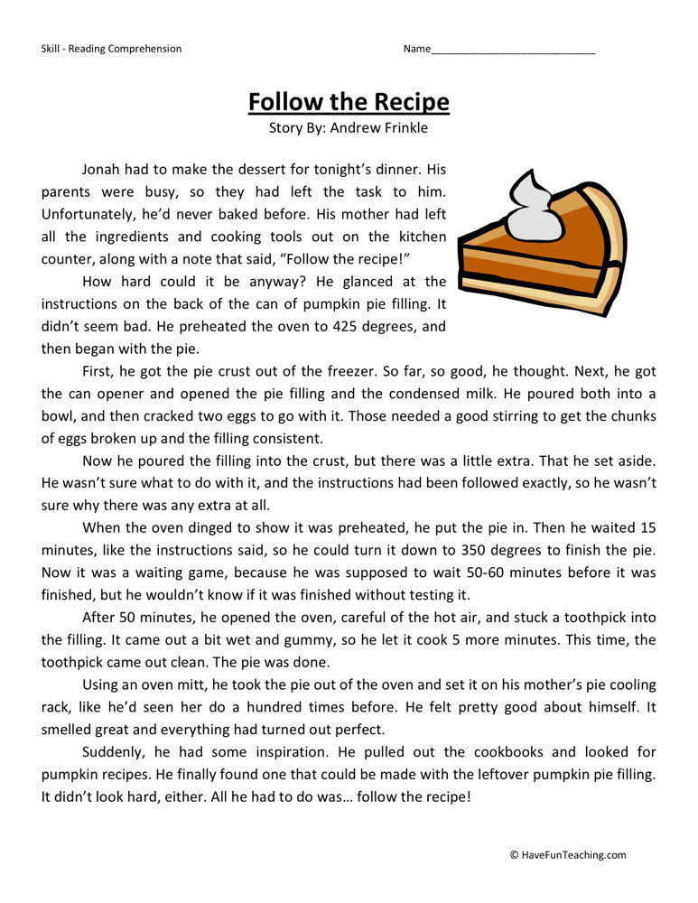 Reading Comprehension Worksheet - Follow the Recipe