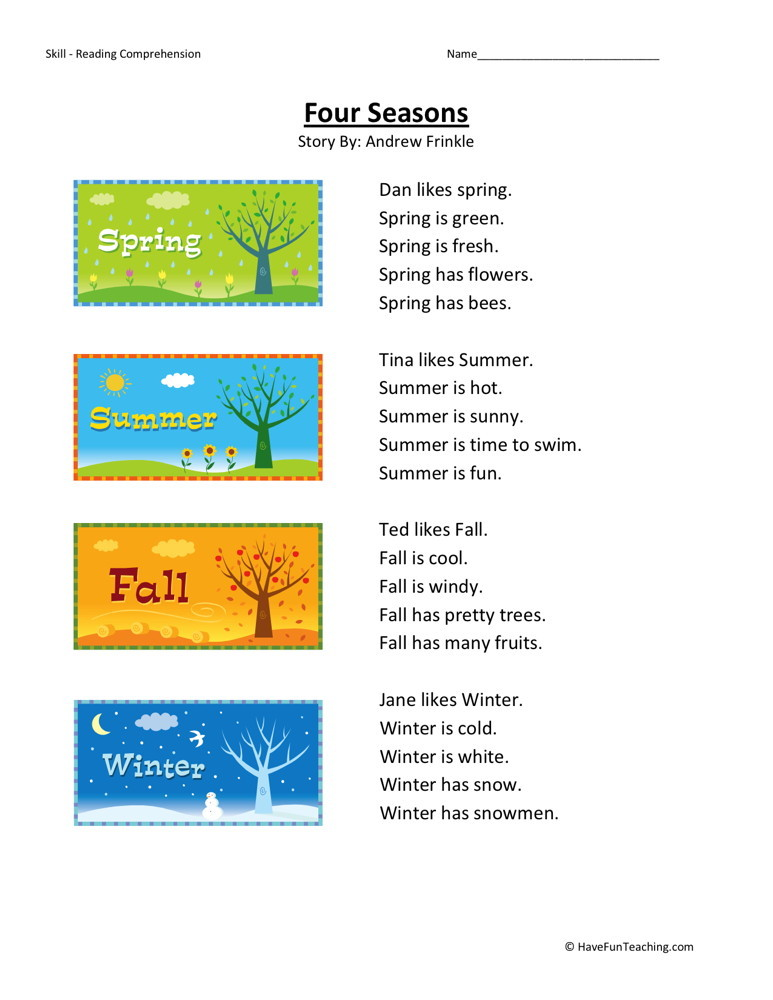 Reading Comprehension Worksheet - Four Seasons