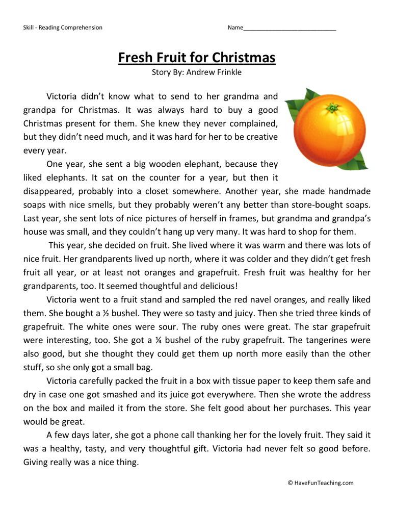 Fresh Fruit For Christmas Comprehension Worksheets
