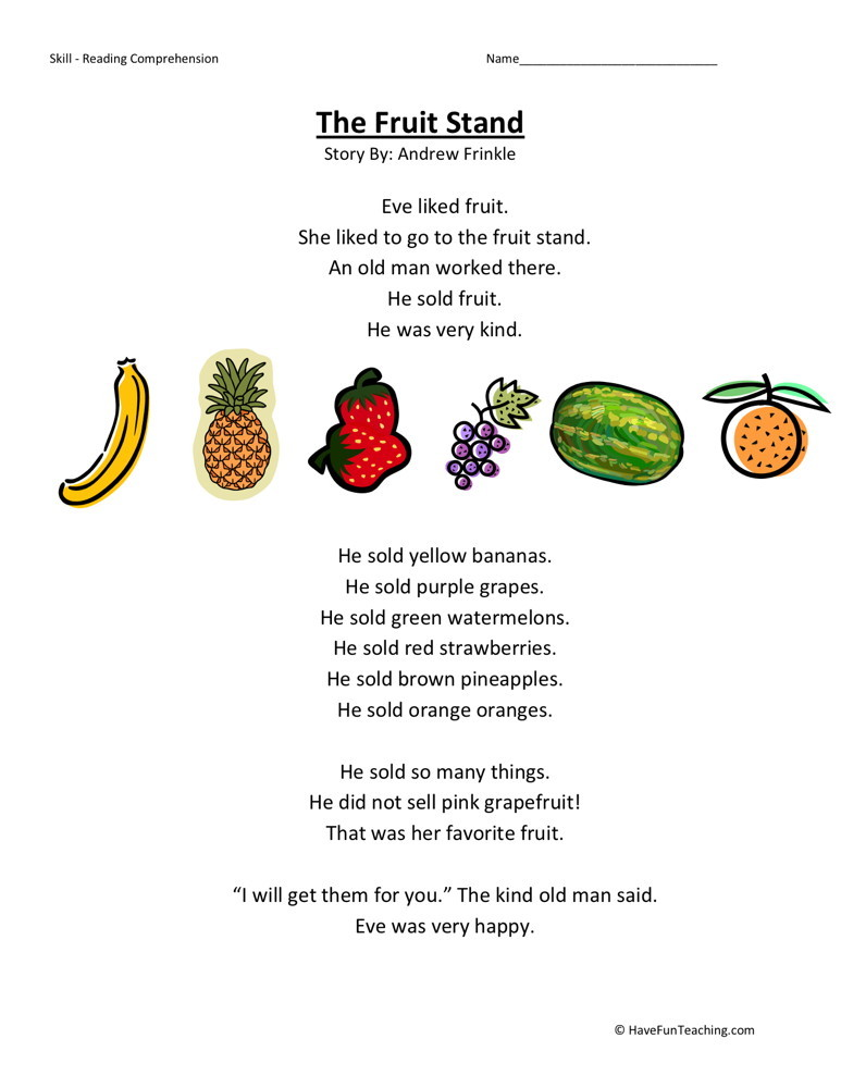 Reading Comprehension Worksheet - The Fruit Stand