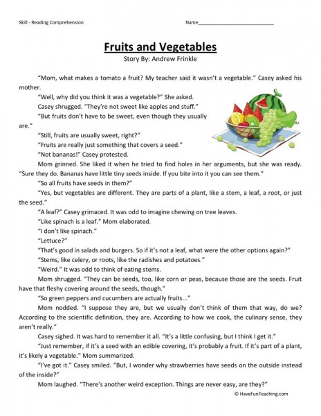 Reading Comprehension Worksheet - Fruits and Vegetables