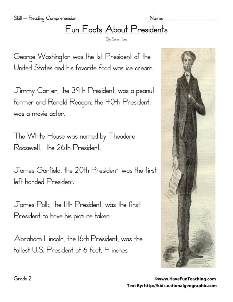 Reading Comprehension Worksheet - Fun Facts About Presidents