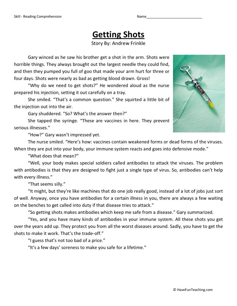4th Grade Reading Comprehension Worksheets : Reading comprehension worksheet getting shots