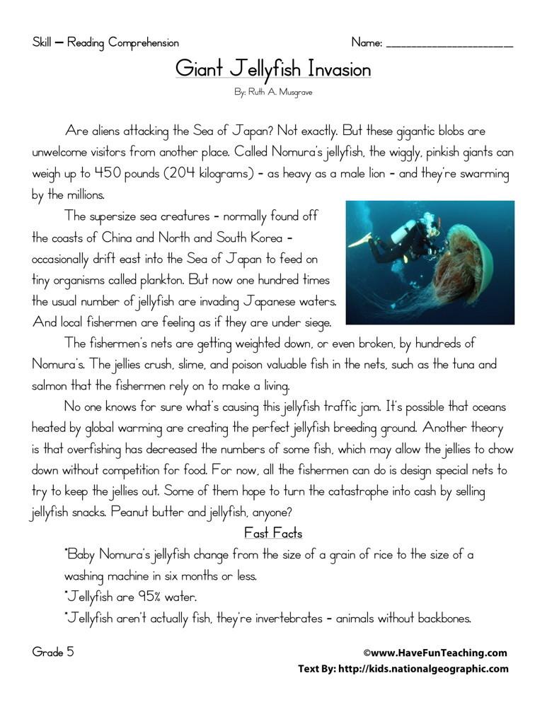 Reading Comprehension Worksheet - Giant Jellyfish Invasion