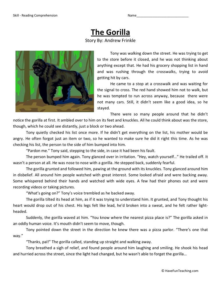 Reading Comprehension Worksheet - The Gorilla