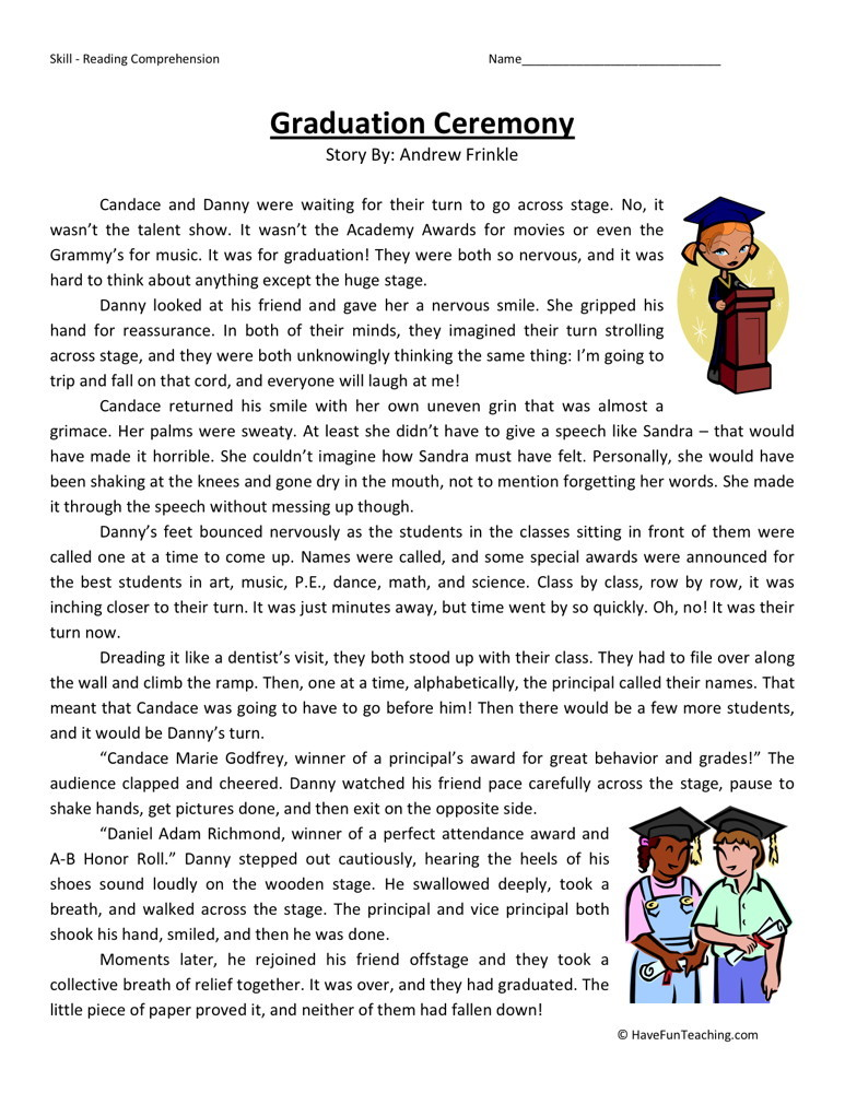 ... Fifth Grade Reading Comprehension Worksheets › Graduation Ceremony