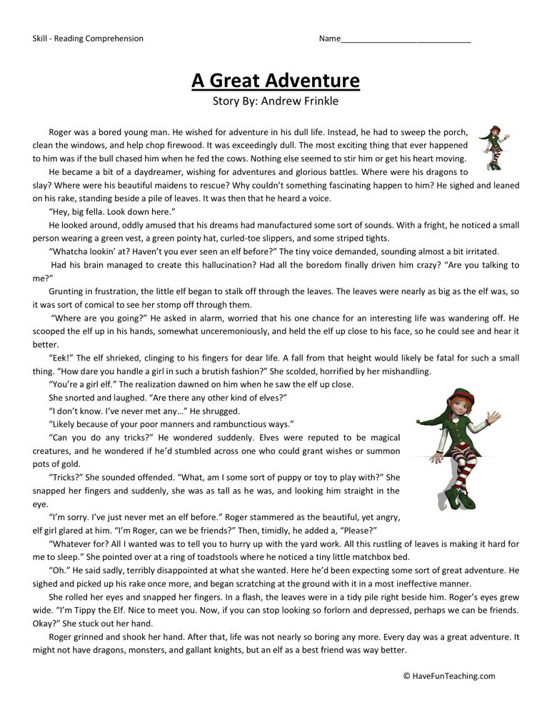 Reading Comprehension Worksheet - A Great Adventure