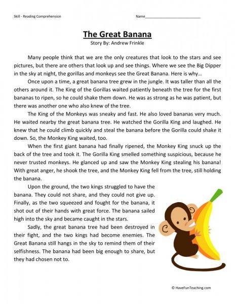reading comprehension worksheet the great banana. Black Bedroom Furniture Sets. Home Design Ideas